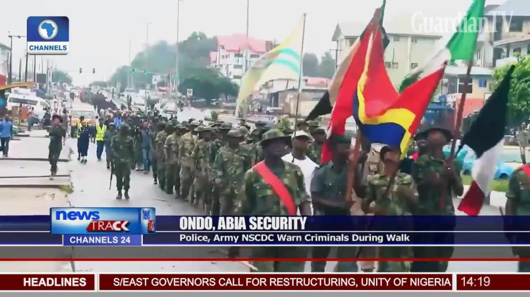 Police, Army, NSCDC warn criminals during walk » Guardian TV